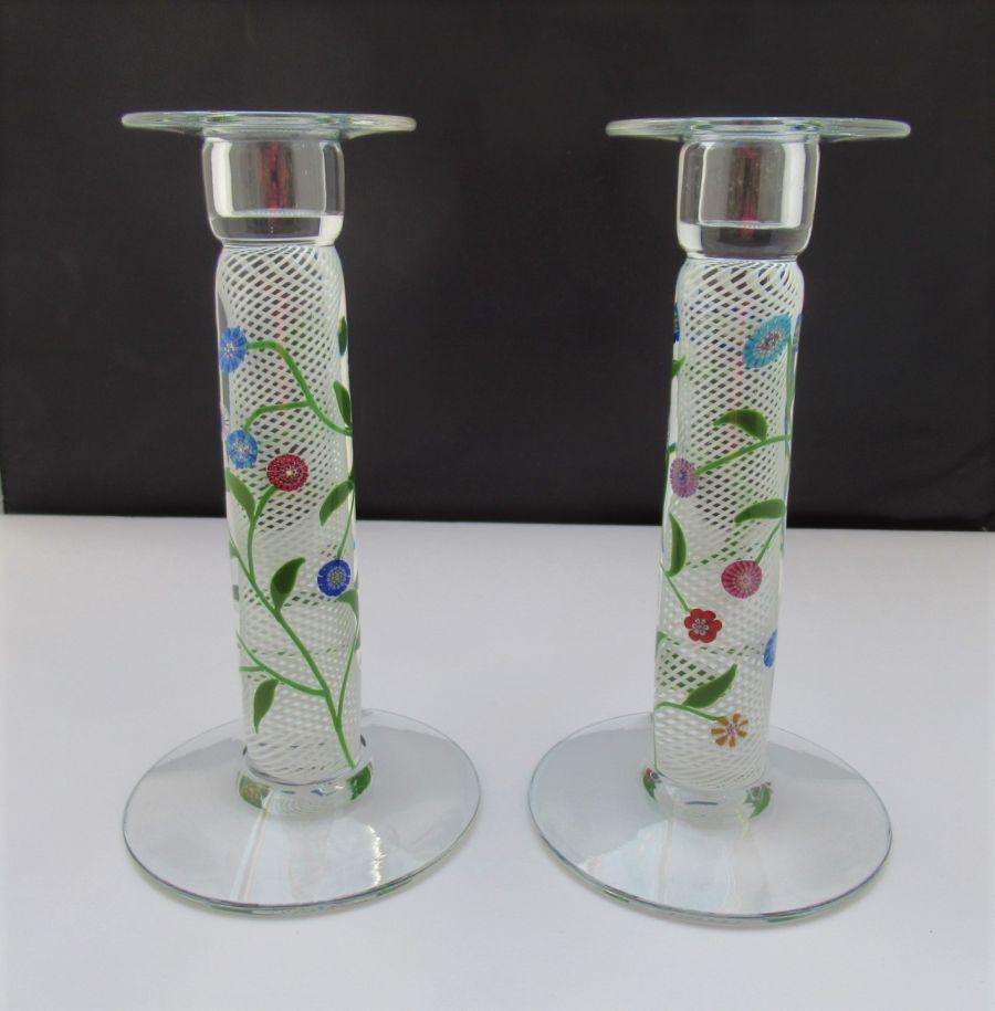 Michael James Hunter, Twists, Cane Work Glass Candlesticks