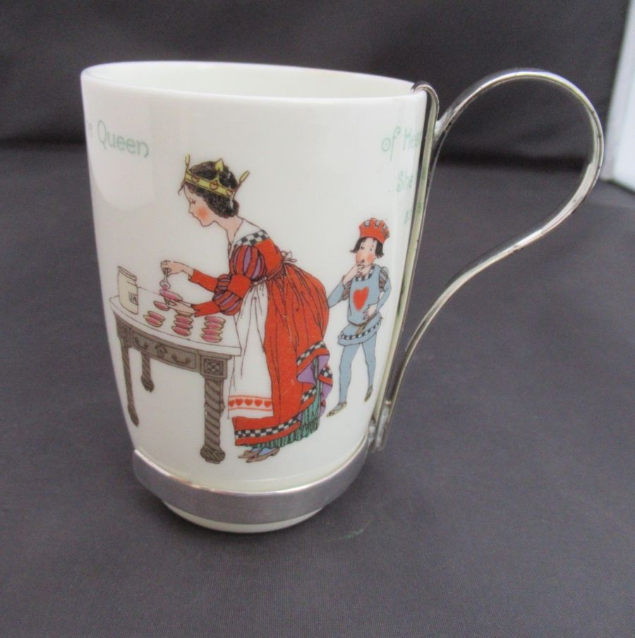 Royal Doulton, Hukin & Heath, Queen of Hearts Nursery Cup, early C20th