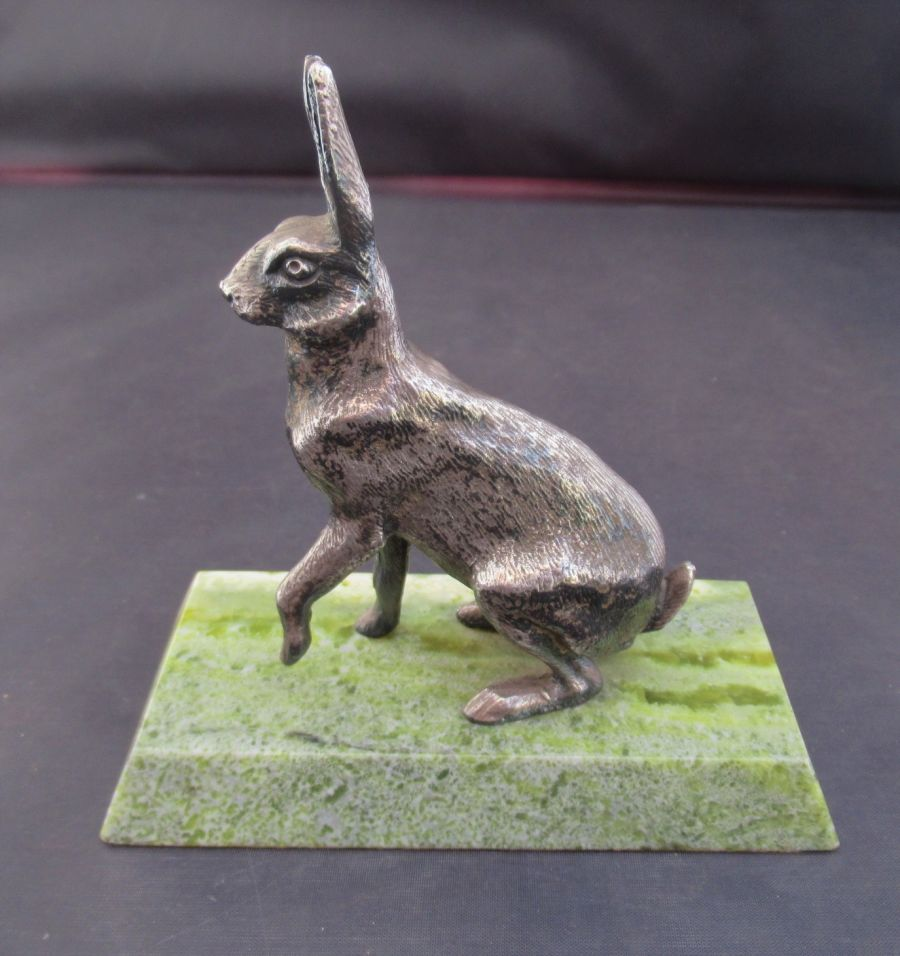 Art Deco Silvered Metal Figurine of a Seated Hare, c1925