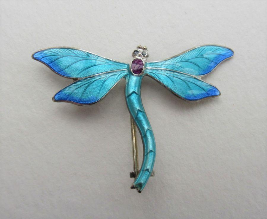 JA&S John Atkins & Son Silver & Enamel Dragonfly Brooch Full Hallmarks, Sterling Silver, Birmingham 1915