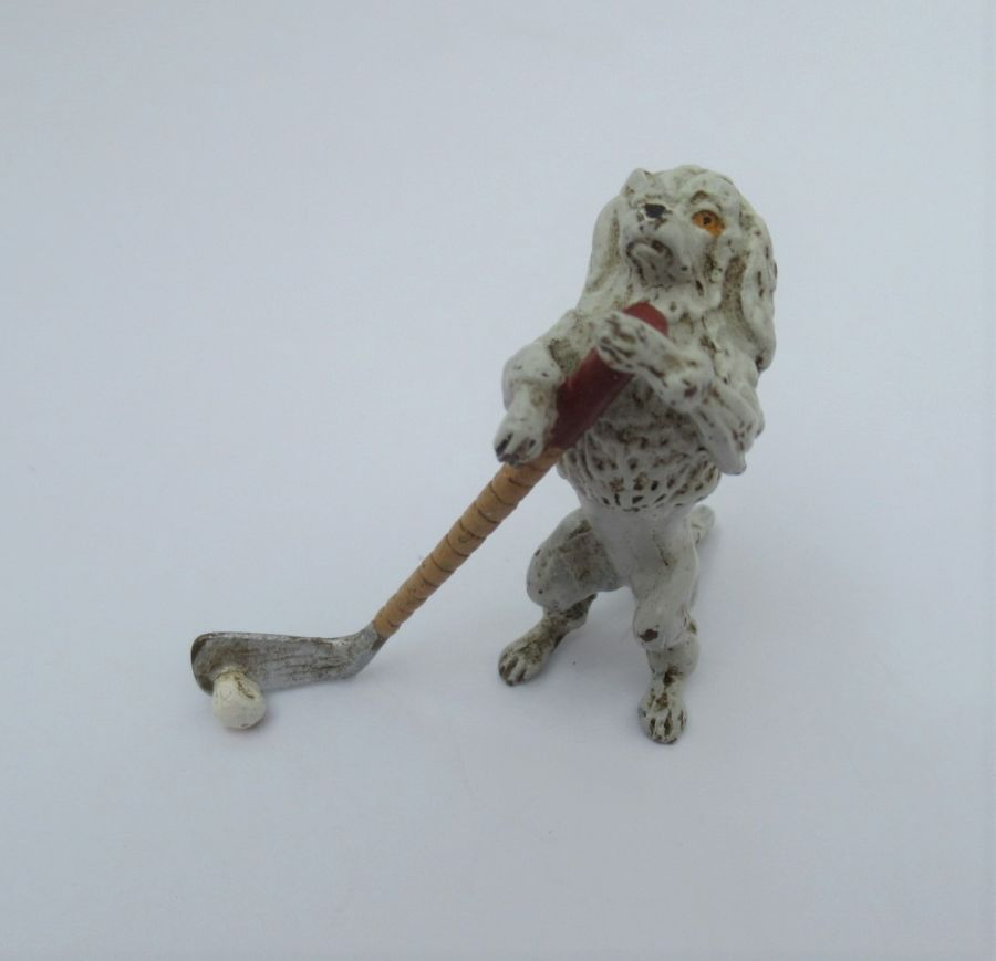 Vintage cold painted bronze Anthropomorphic  Poodle golf/hockey player complete with club/stick, Early to Mid C20th