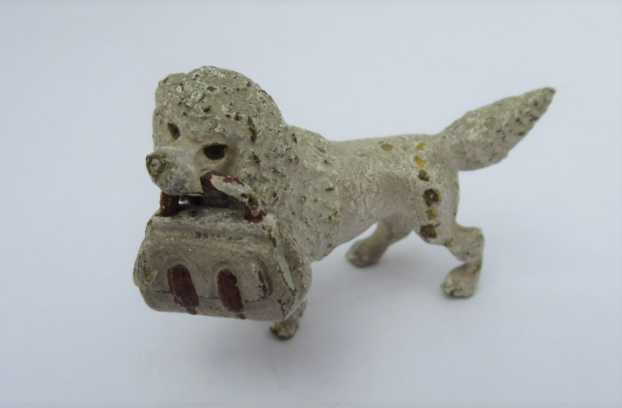 Vintage cold painted bronze Anthropomorphic Poodle carrying handbag, Early to Mid C20th