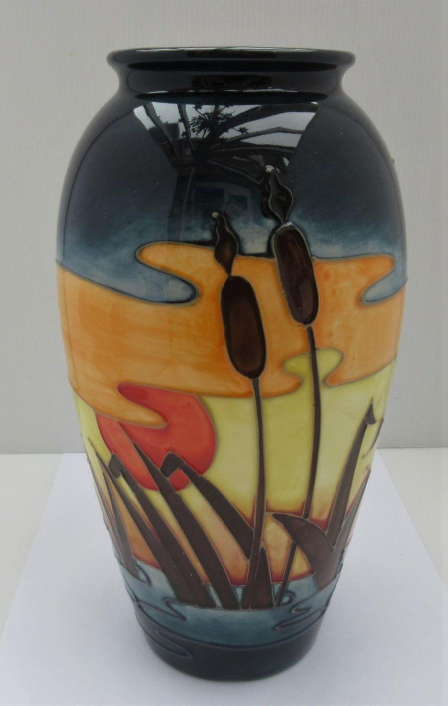 Moorcroft Reeds at Sunset baluster vase Designed by Philip Richardson, 1990