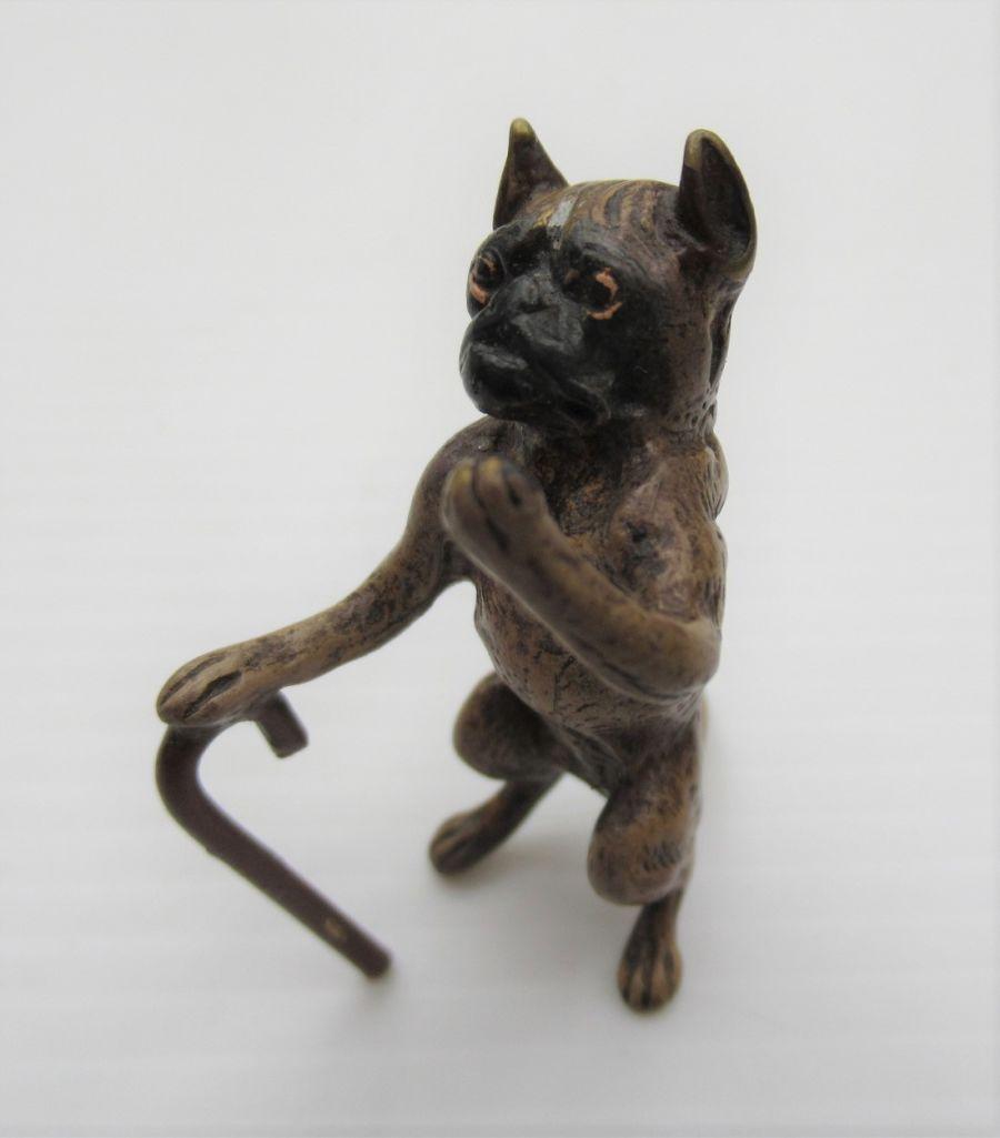 Antique Austrian Cold Painted Bronze, Boxer with walking stick, c1900