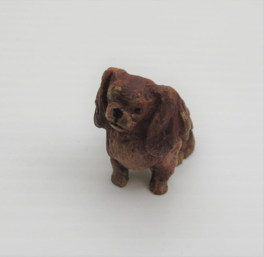 Antique Austrian Cold Painted Bronze, King Charles Spaniel, c1900