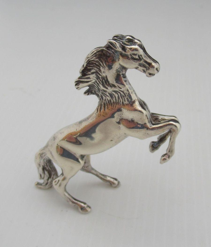 Elizabeth II, Sterling Silver Rearing/Prancing Horse Figurine, JJ & SM, London 1985
