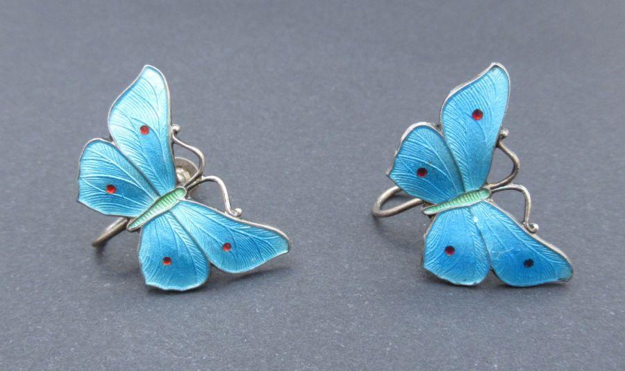 Rare JA&S, John Atkins & Son antique butterfly screw back earrings