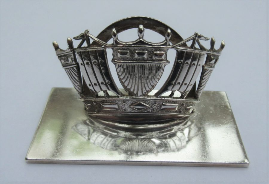 George V Sterling Silver Royal Navy Crown Menu/Card Holder Hallmarked John William Barrett, Chester 1920