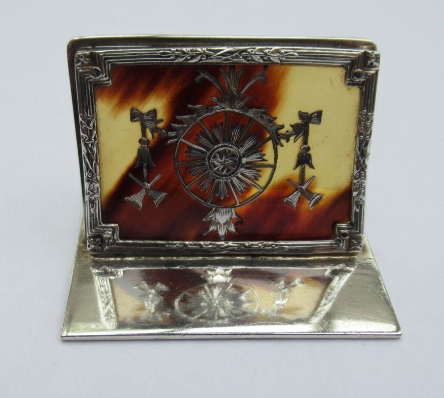Edwardian, Sterling Silver & Tortoiseshell Menu/Card Holder, William Comyns, London 1910