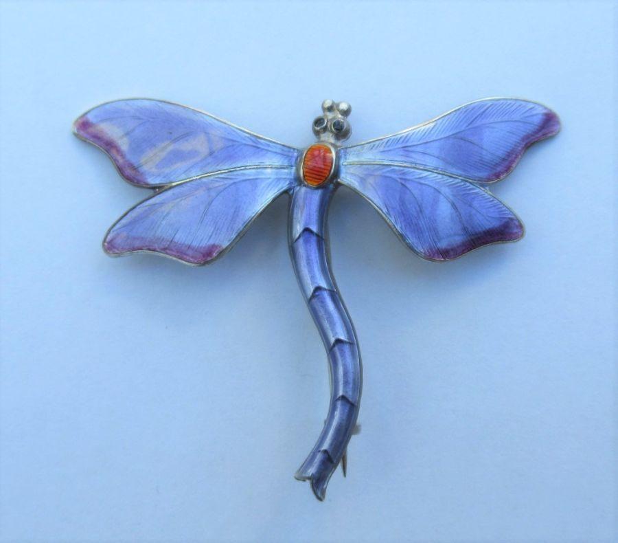 JA&S John Atkins & Son Silver & Enamel Dragonfly Brooch, Birmingham 1913