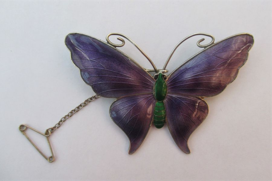 JA&S John Atkins & Son Silver & Enamel Butterfly Brooch, Birmingham, Date c1920