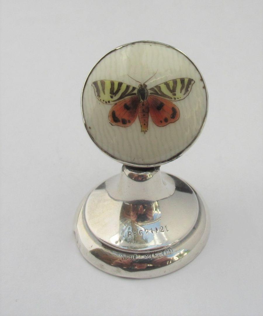 George V Sterling Silver Butterfly Menu/Card Holder Hallmarked Napper & Davenport, B'ham 1914