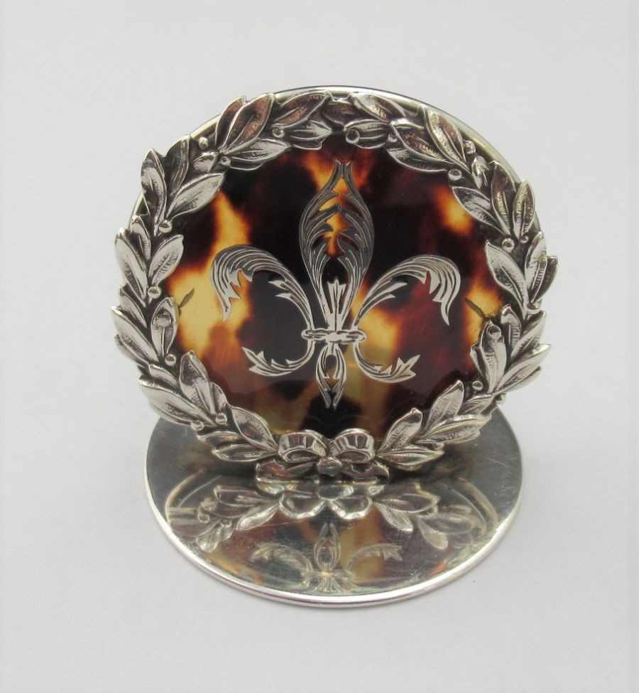 Edwardian, Sterling Silver & Tortoiseshell Menu/Card Holder Hallmarked William Comyns, B'ham 1909