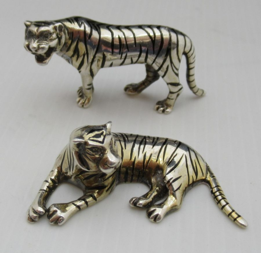 Sarah Jones, Pair of Silver & Enamel Tigers, London 1985/86