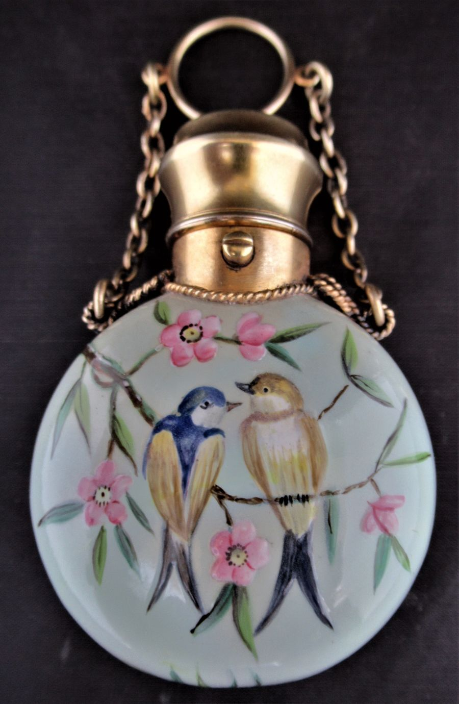 Sampson Mordan English porcelain and gilt mounted scent bottle, Aesthetic period, c1875