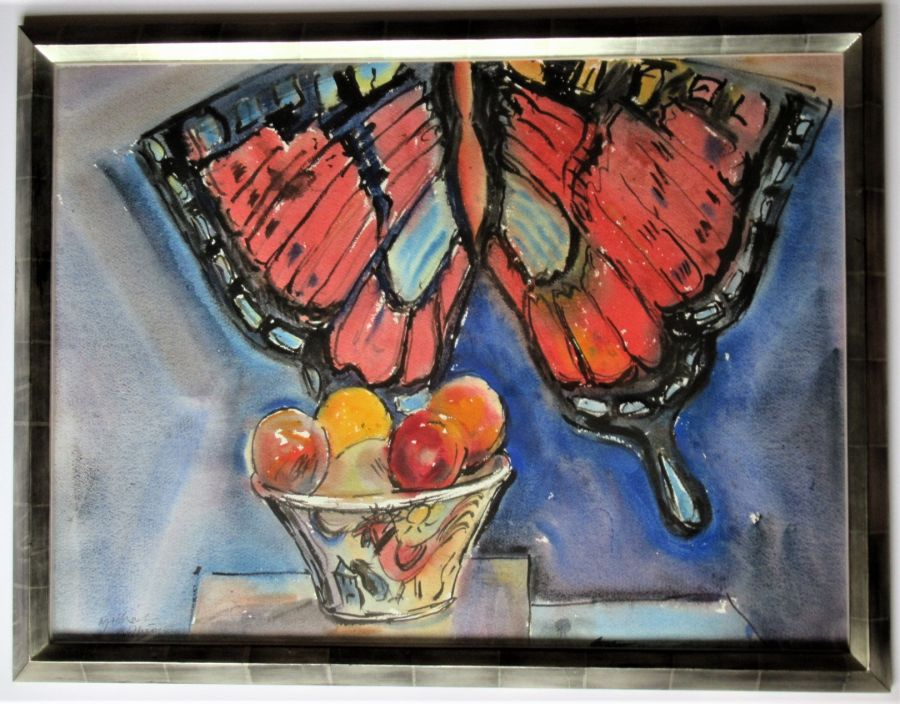 Michael Rothenstein R.A., watercolour, Butterfly Kite and Fruit Bowl, 1988, framed