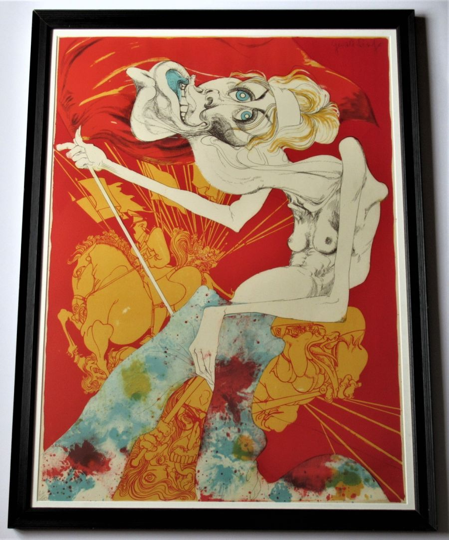 Gerald Scarfe, signed limited edition large print, Revolution Lovely Revolution, Vanessa Redgrave, 1969, framed
