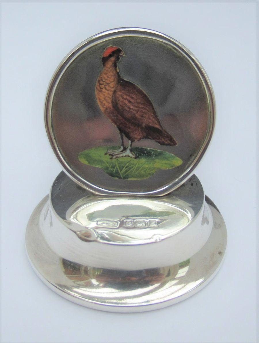 An Edwardian Silver game bird/grouse menu/card holder, Marks & Cohen, Birmingham 1906