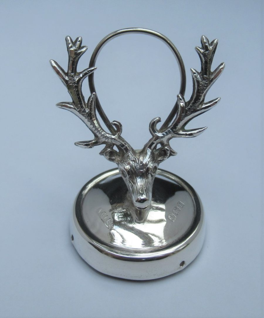 An Edwardian sterling silver stag menu or place card holder, Adie & Lovekin Ltd, Birmingham 1909