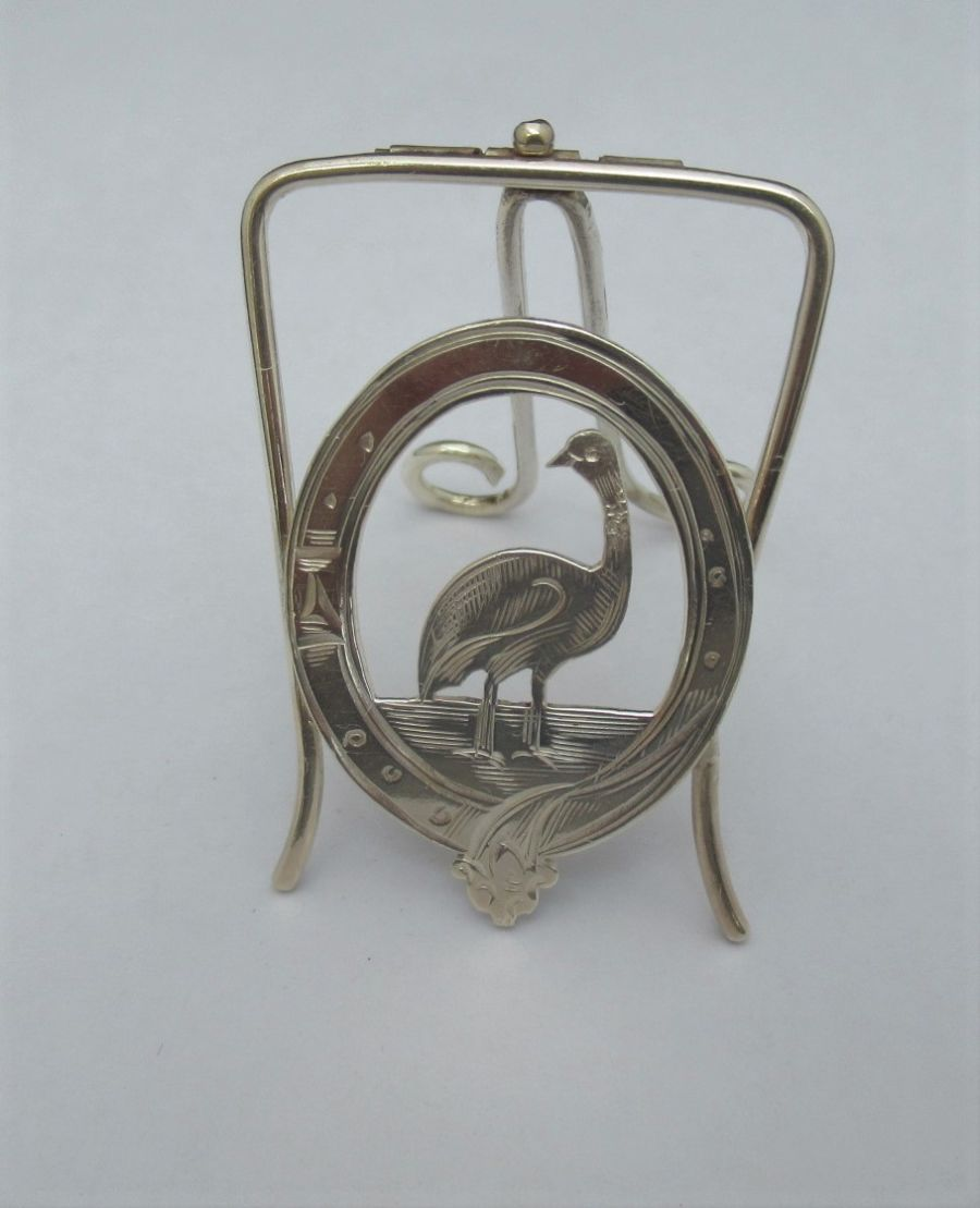 An Edwardian Silver game bird menu/card holder, White & Reynolds, Chester 1904
