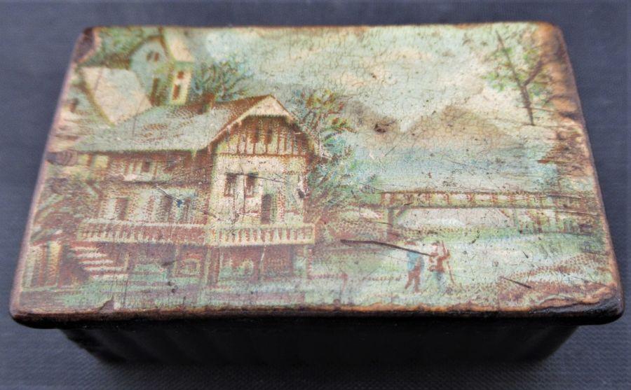 Papier Mache Snuff Box, German c.1820, Printed Lake Scene to lid
