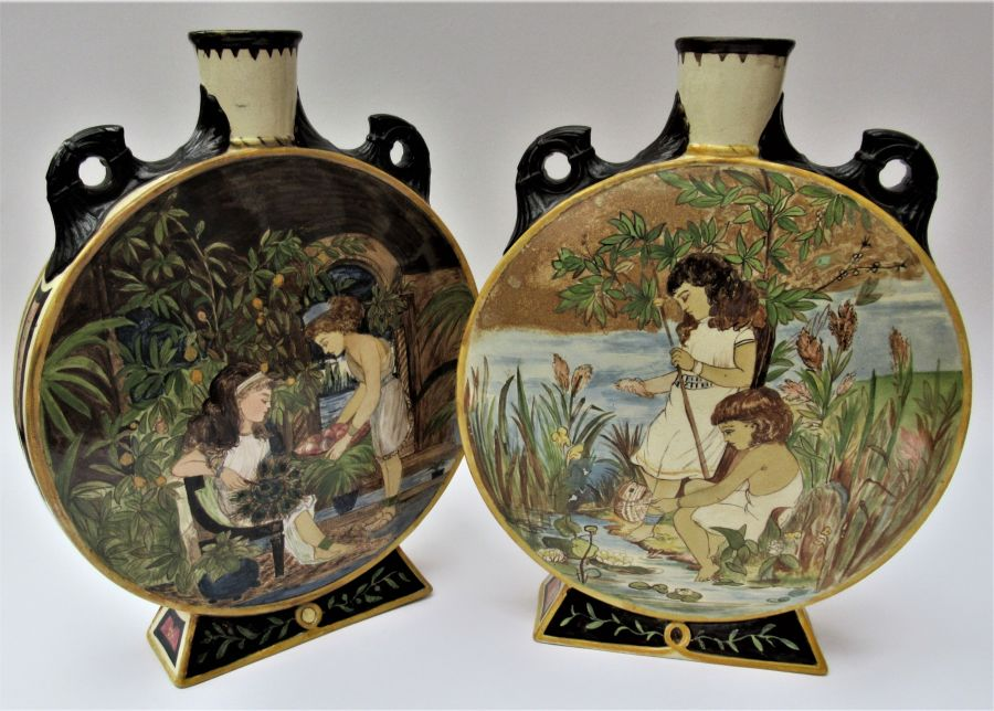 Splendid Pair of Large Mintons Moon Vases, 1874, Hand Painted, Possibly after John Moyr Smith