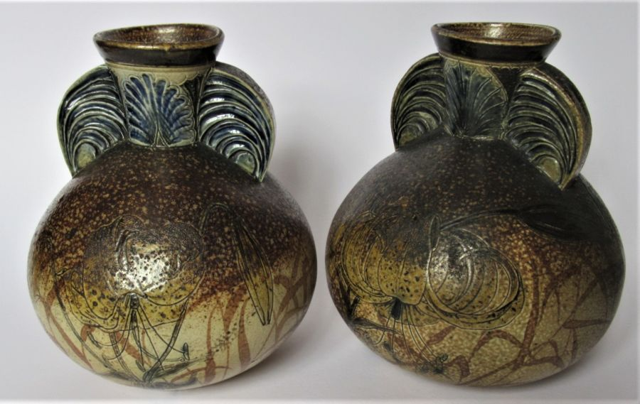 Pair of Large Martin Brothers Stoneware Vases, 1903