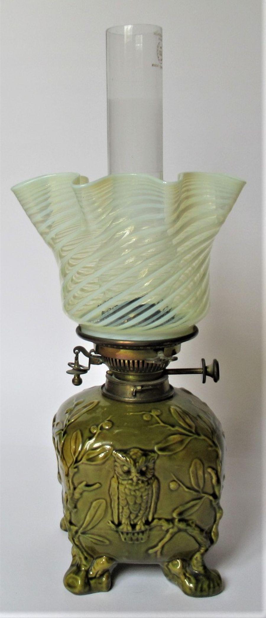 Wedgwood Aesthetic Period Majolica Oil Lamp with Full Period Fittings c.1880