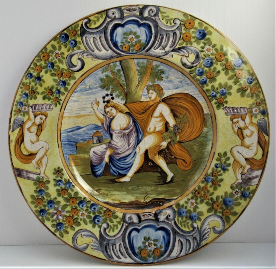 Italian Majolica Renaissance Revival Istoriato 19th Century Dish, Original Frame