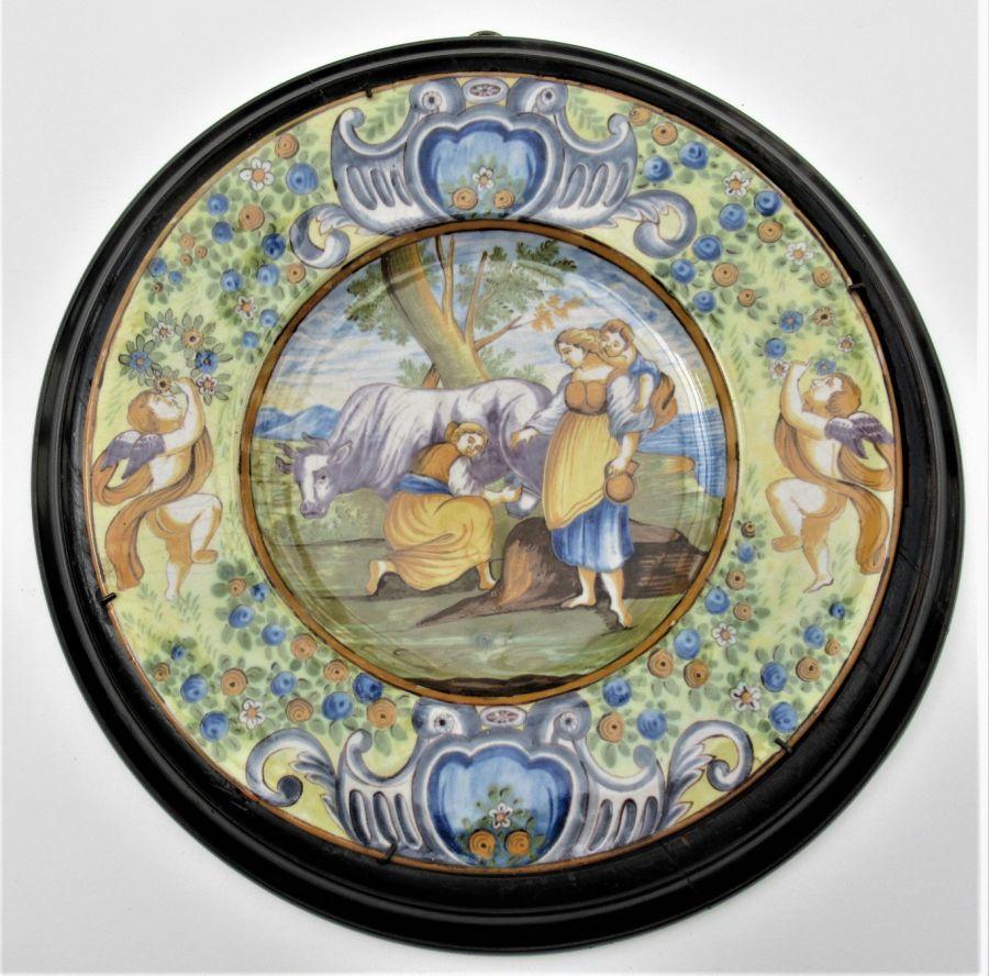 Italian Majolica Renaissance Revival Shallow Dish, 19th Century, in Original Frame