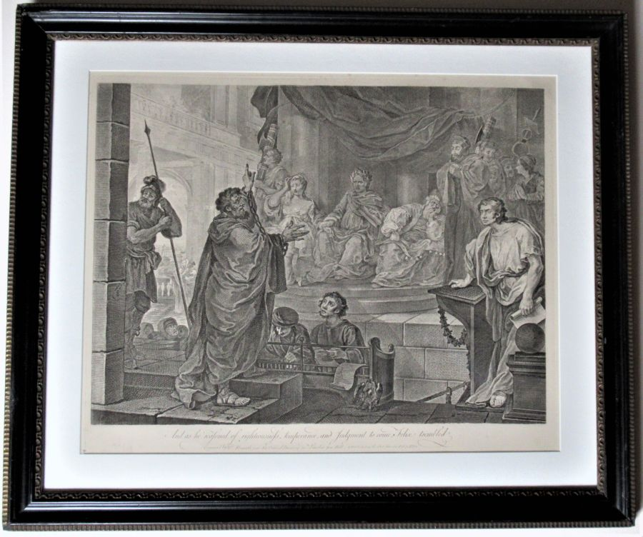 William Hogarth, Paul before Felix, large original print engraved 1752, mounted