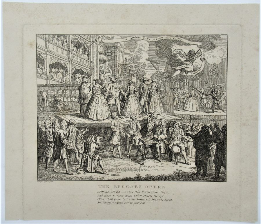 William Hogarth (attr), The Beggar's Opera Burlesqued, 1728, original print