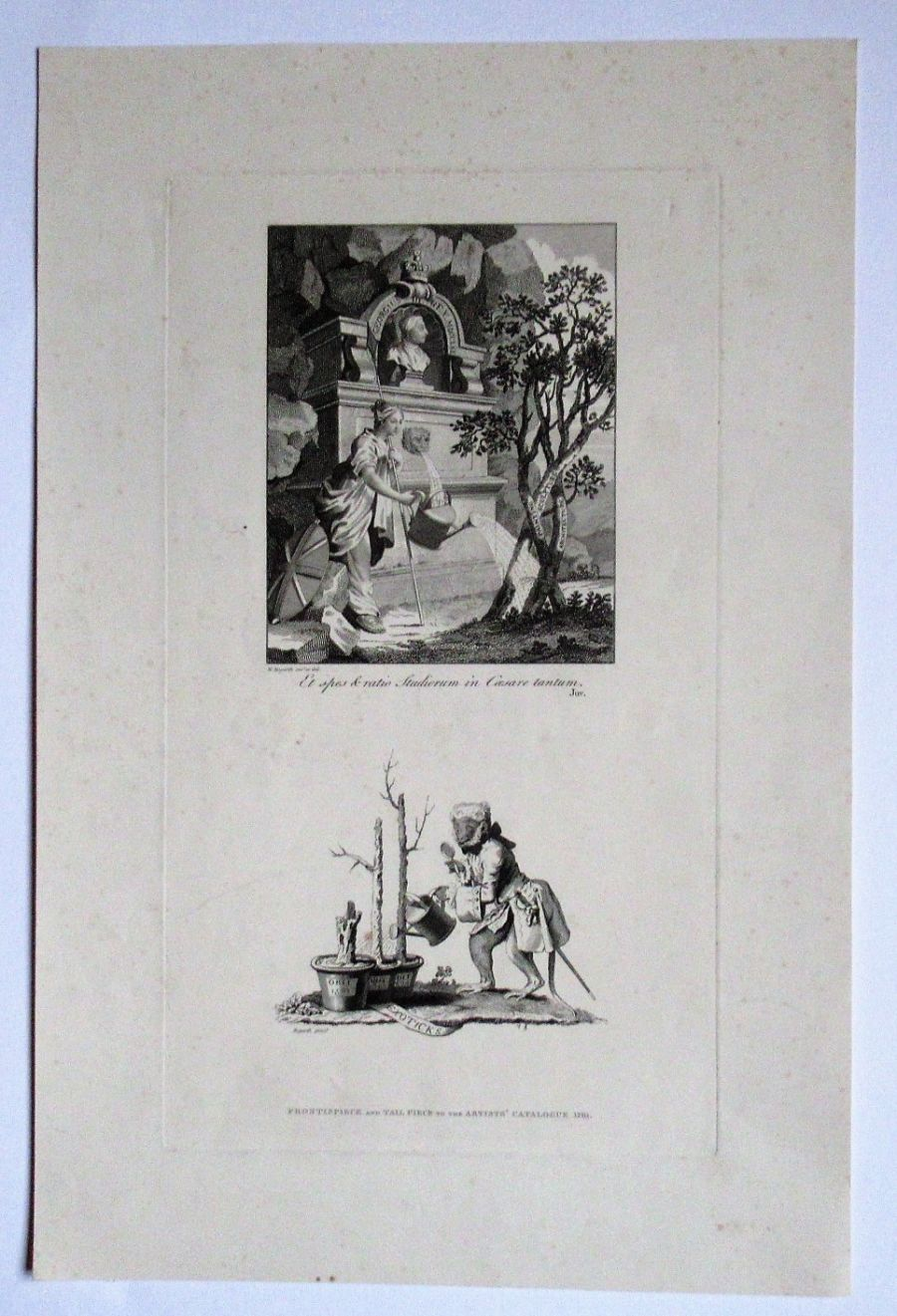 William Hogarth, Frontispiece and Tailpiece to The Artist's Catalogue, 1761