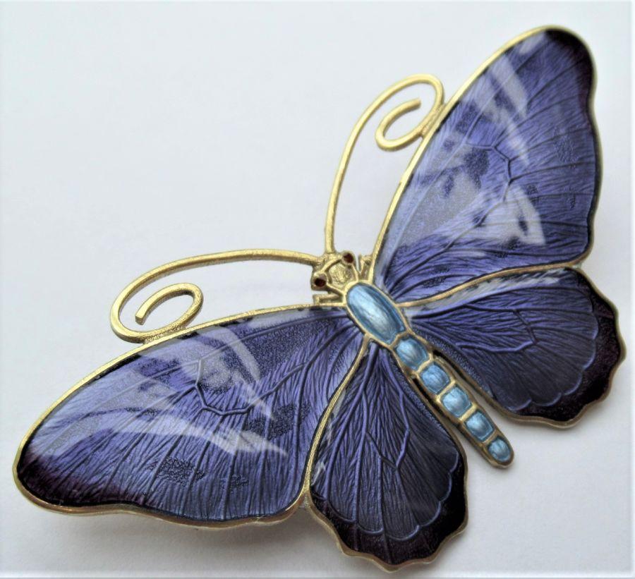 Marius Hammer, Silver Gilt & Enamel Butterfly Brooch, c1910