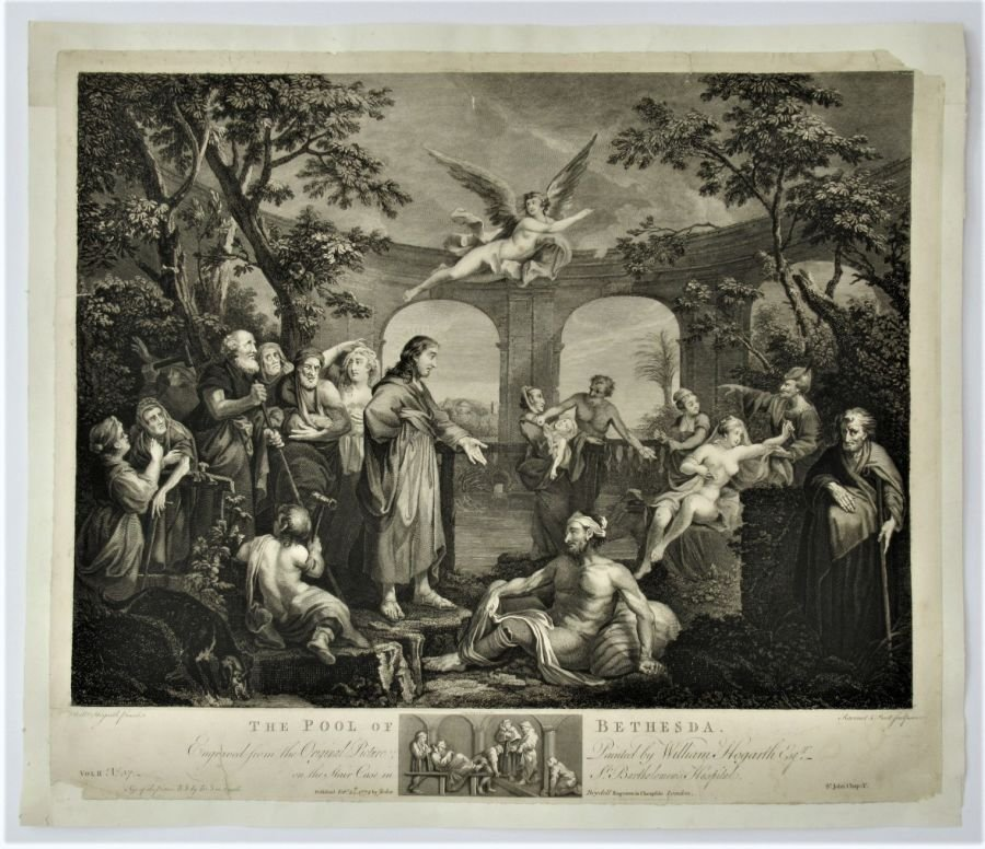 After William Hogarth, The Pool of Bethesda, engraved Ravenet 1772, original print