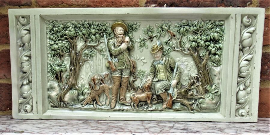 German or Austrian stove or fireplace faience tile with huntsmen & dogs c1870