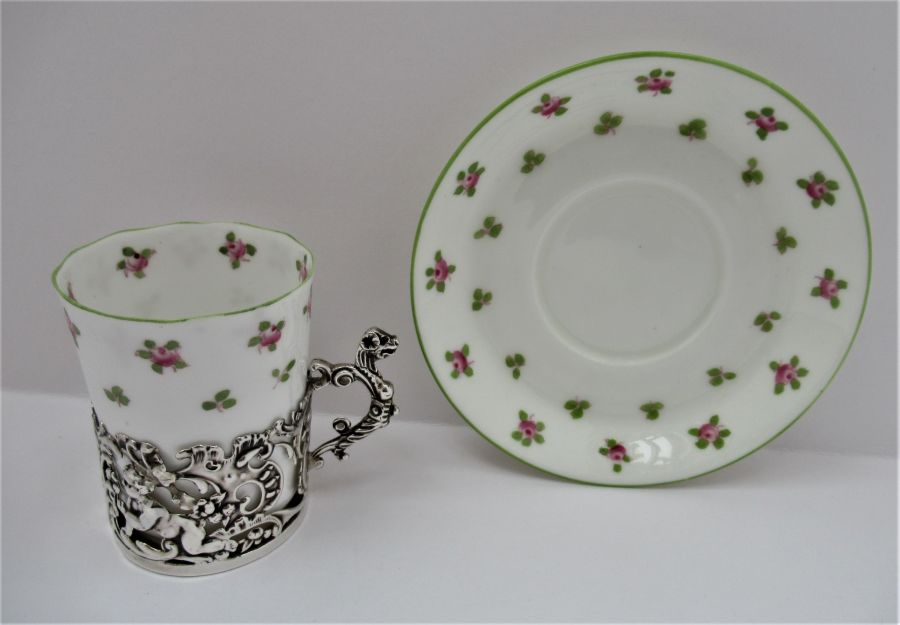 Staffordshire Bone China Coffee Cup & Saucer, Silver Mount, William Comyns, London 1911