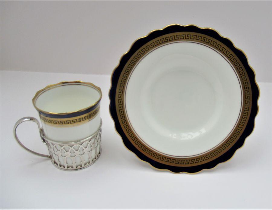 Aynsley Bone China Coffee Cup & Saucer, Silver Mount, Adie Bros Ltd., B'ham 1930