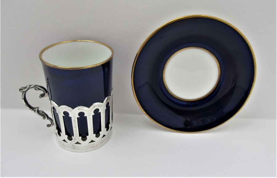 Aynsley Bone China Coffee Cup & Saucer, Silver Mount, James Dixon & Sons Ltd., Sheffield 1919