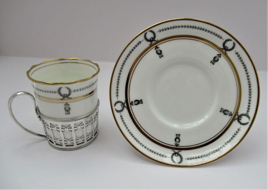 Aynsley Bone China Coffee Cup & Saucer, Silver Mount, Manoah Rhodes & Sons Ltd., London 1933