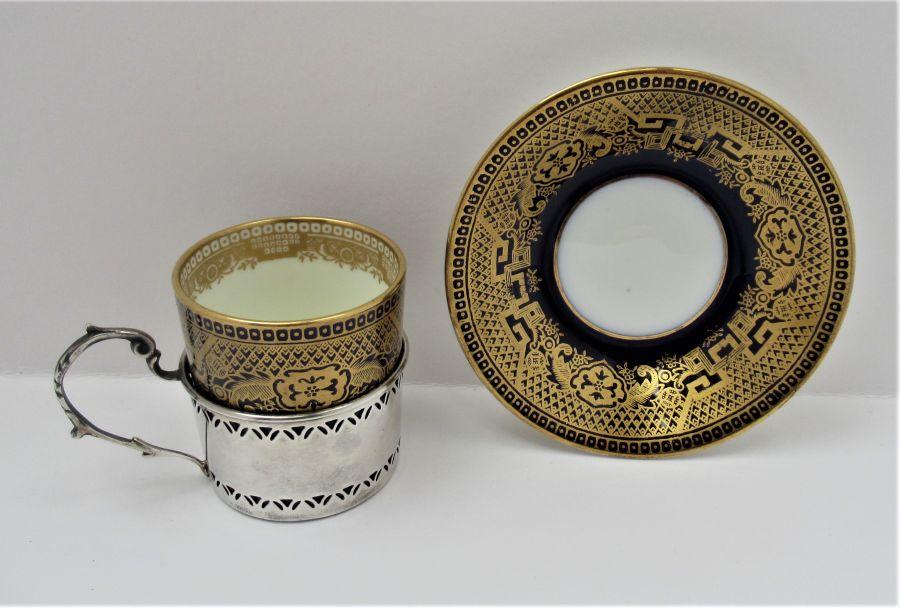 Cauldon Bone China Coffee Cup & Saucer, Silver Mount, Deakin & Francis, B'ham 1933