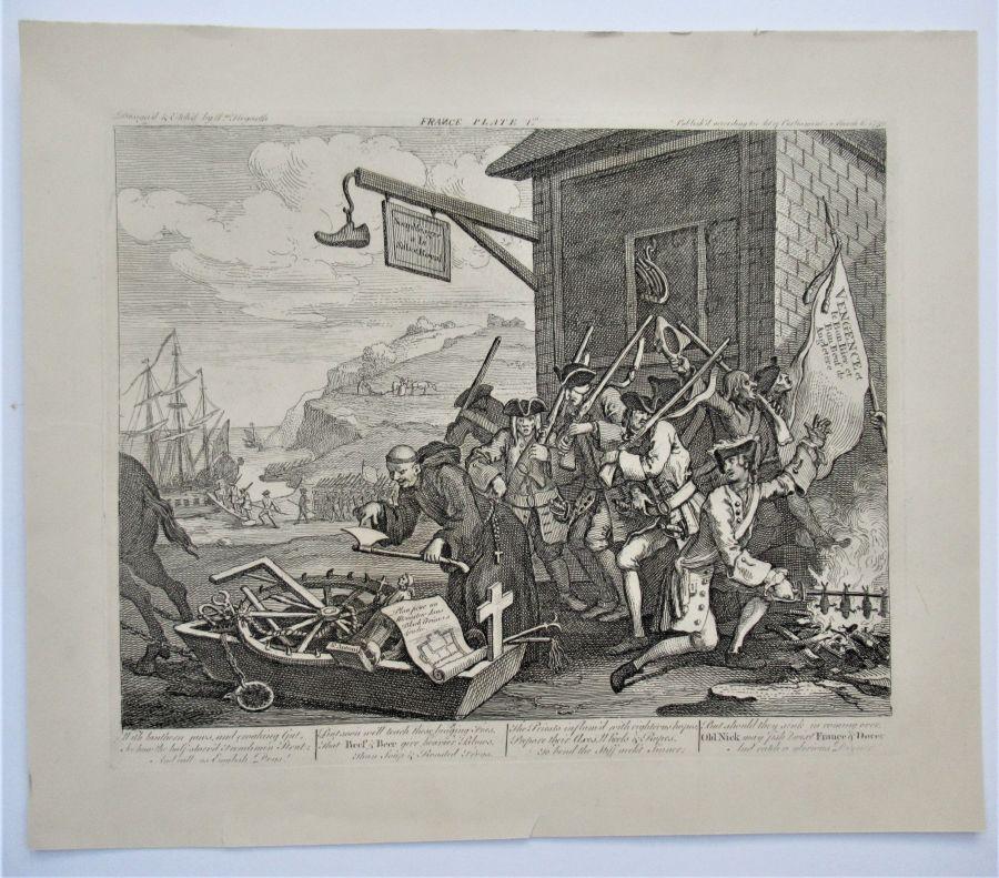 William Hogarth, The Invasion, France, original print 1756