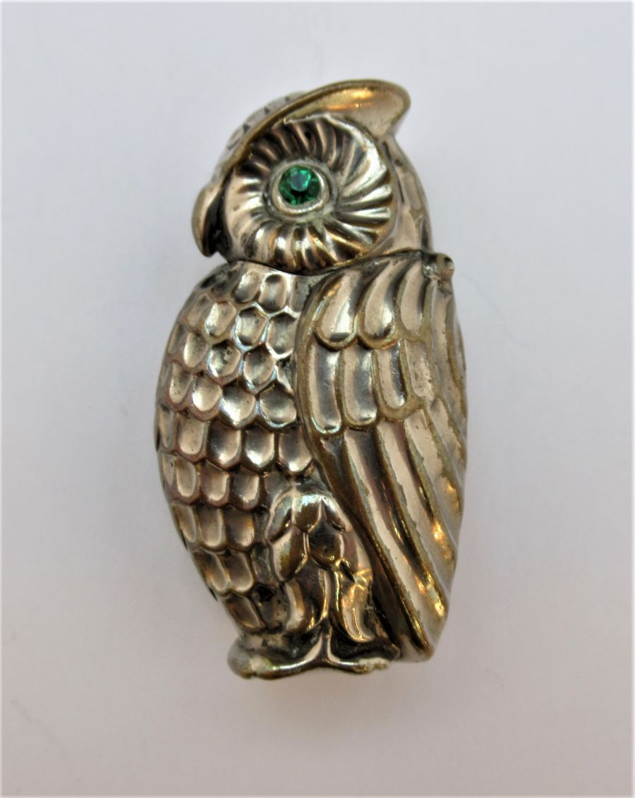 Antique Owl Vesta Case, Victorian Match Safe Holder