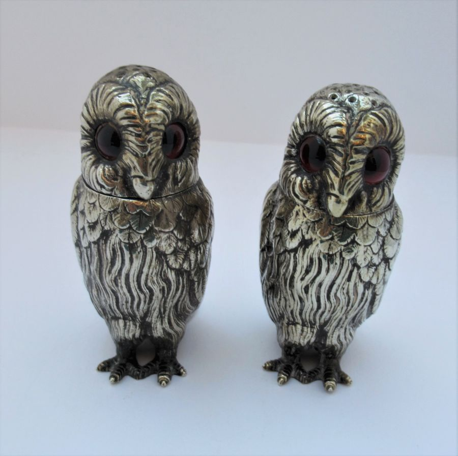 Charming pair of Victorian EPNS owl pepperettes