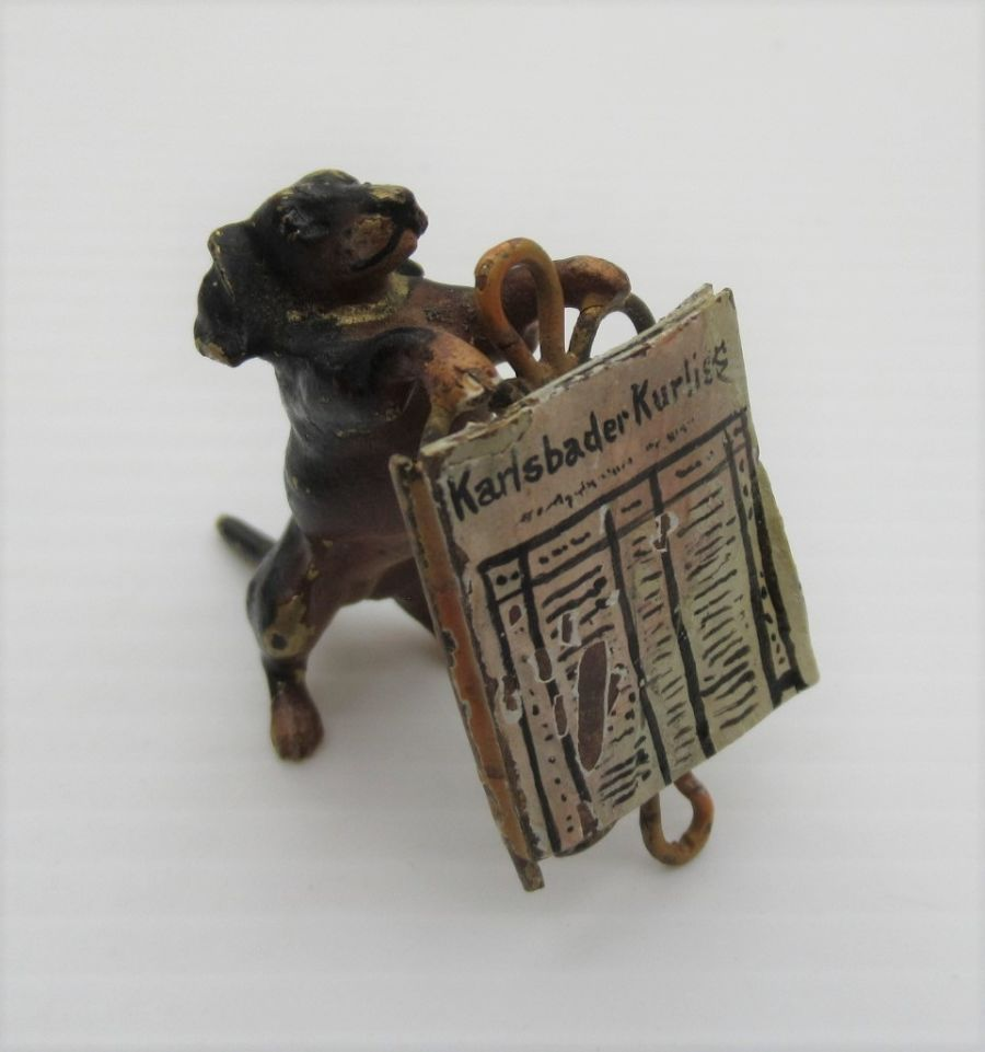 Austrian cold painted bronze Anthropomorphic  Dachshund with newspaper, early C20th
