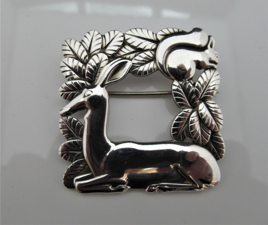 Georg Jensen/Arno Malinowski Silver Deer & Squirrel Brooch