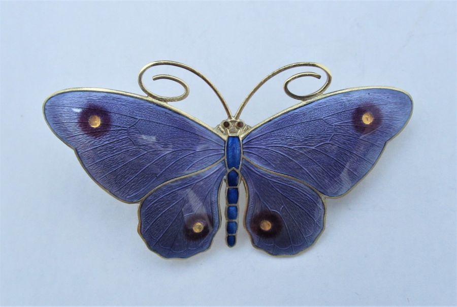 Marius Hammer Silver Gilt & Enamel Butterfly Brooch, c1920