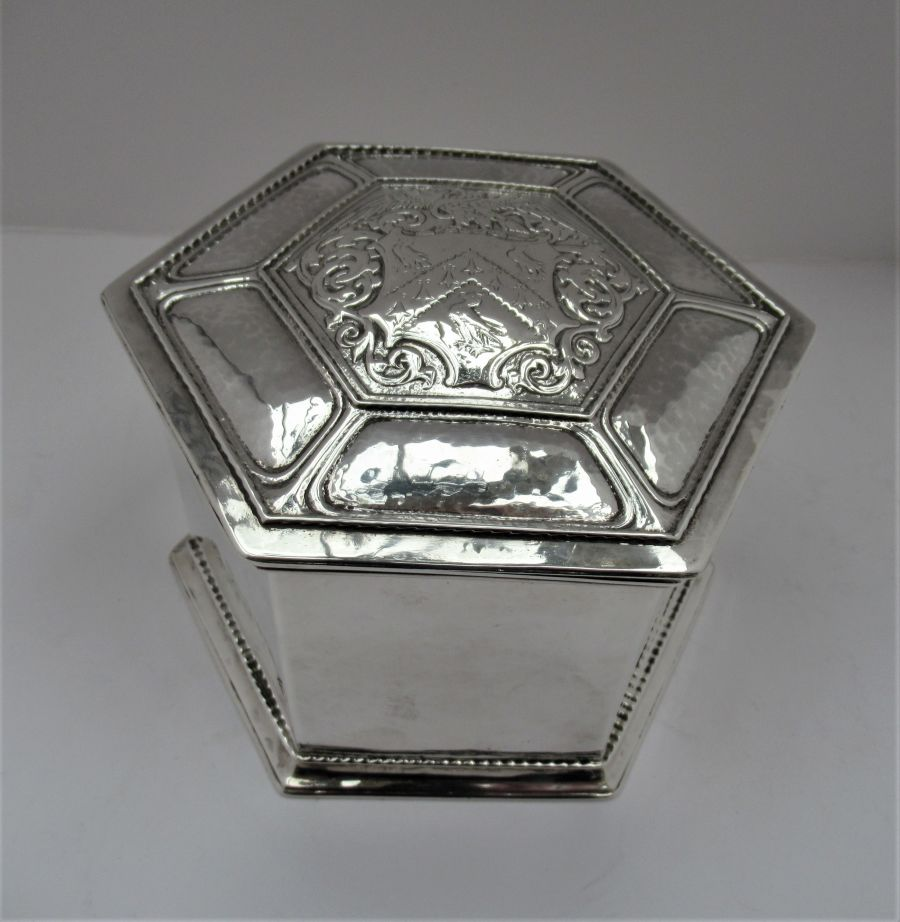 Superb Omar Ramsden & Alwyn Carr Sterling Silver Hexagonal Box, London 1910