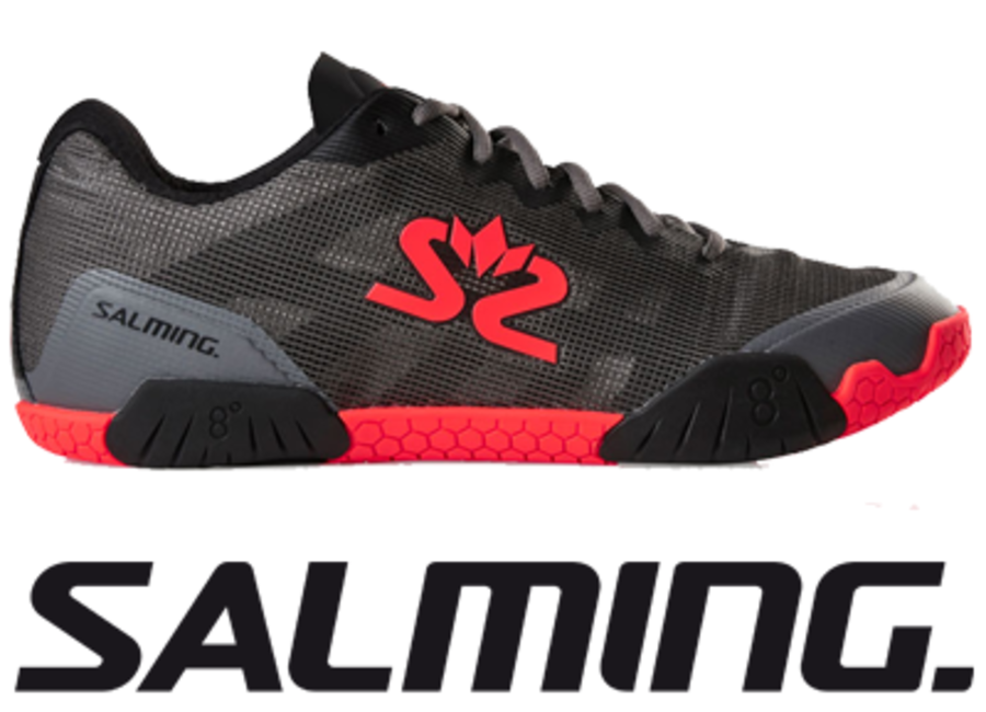 Salming Hawk - Gun Metal / Lava Red - UK 10.0 / US 11.0 / EU 45 1/3