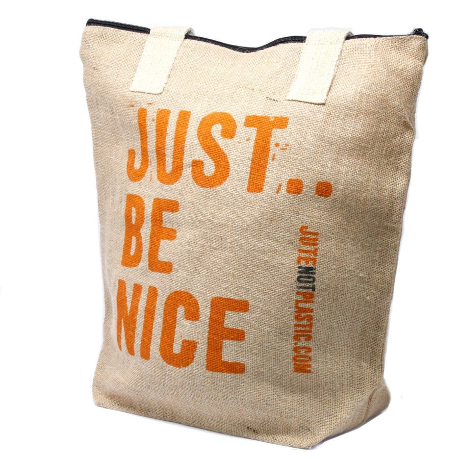 Eco Jute Bag - Just Be Nice - (4 assorted designs)